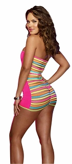 Neon Pink Microfiber Dress with Neon Elastic Strap Back