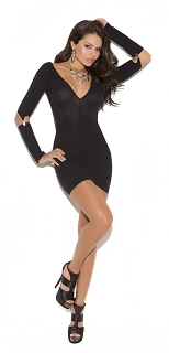 Black Vivace Opaque Mini Dress with Gartered Long Sleeves