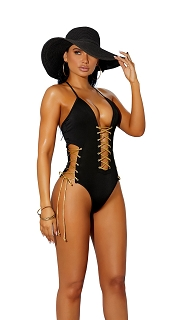 Black Lycra Lace Up Front and Side Monokini