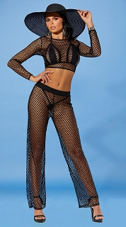 Black Fishnet Swimwear Cover Up Pants
