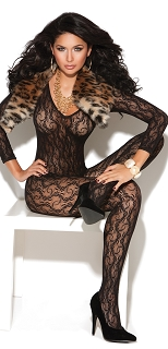 Black Full Body Long Sleeve Lace Bodystocking