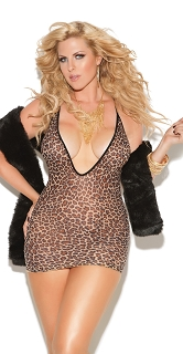 Plus Size Sexy Leopard Deep V Mini Dress