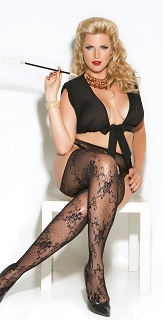 Plus Size Black Cut Out Side and Back Lace Suspender Pantyhose