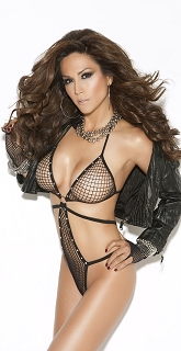 Black Diamond Net Teddy with Rhinestone Detailing