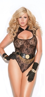 Plus Size Black Open Chest Black Lace Teddy