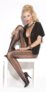 Black Vertical Stripe Fishnet Pantyhose