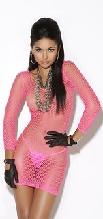 Pink Long Sleeve Diamond Net Mini Dress