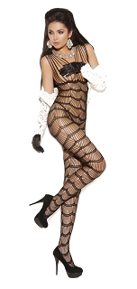 Vivace Black Vertical Striped Bodystocking