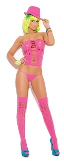 Pink Vivace Opaque Pothole Bandeau Top with G-String and Stockings