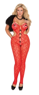 Vivace Red Lace Bodystocking With Satin Bow Detail