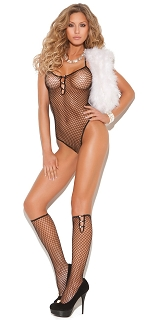 Black Diamond Net Teddy with Knee Hi Stockings