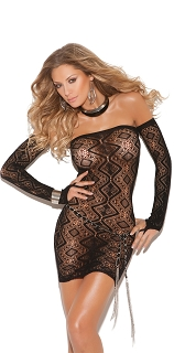Black Diamond Pattern Bandeau Dress with Gloves