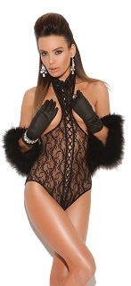 Black Lace Cupless Teddy with Lace Up Front and Open Back