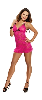 Hot Pink Open Back Lace Chemise with Thong