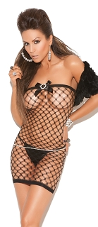 Black Diamond Fishnet Mini Dress