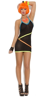Black Vivace Mini Dress with Neon Stripe Detail