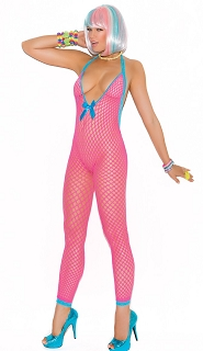 Neon Pink Crochet Bodystocking with Peek a Boo Back Cut Out