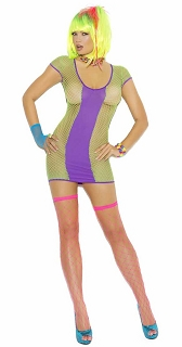 Neon Green with Purple Opaque Fishnet Mini Dress