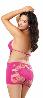 Fuchsia Halter Chemise with Strappy Back Heart Detail and G-String Queen Size
