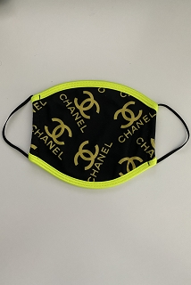 Black Neon Yellow Chanel Face Mask