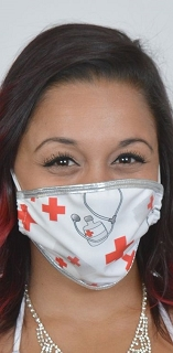 White Medical Print Face Mask