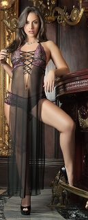 Black Blossom Pink Sheer Seductive Dress with Lace Panty