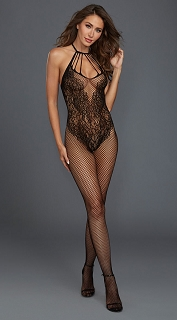 Black Fishnet Bodystocking with Knitted Teddy Design