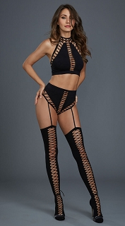 Black Opaque Seamless Bralette with High Waisted Garter Panty and Thigh Highs