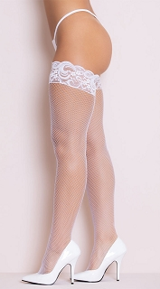 White Stay Up Fishnet Thigh High Stocking with Back Seam