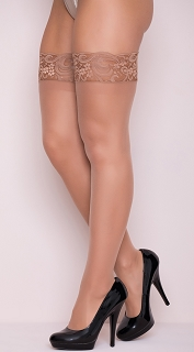 Plus Size Nude  Silicone Lace Top Thigh High Stockings