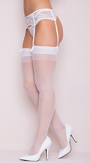 Plus Size White Sheer Solid Top Thigh Highs with Back Seam