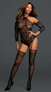 Black Floral Netted Teddy Bodystocking with Attached Thigh Highs