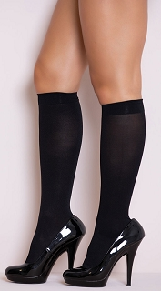 Black Opaque Knee Highs