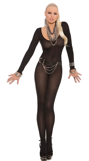 Black Opaque Long Sleeve Bodystocking with Open Crotch