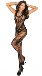 Black Seamless Net Crochet Bodystocking with Open Crotch