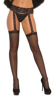 Black Sheer Thigh Highs with Attached Lace Garterbelt