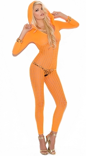Neon Orange Vivace Crochet Hooded Bodystocking with Sleeves