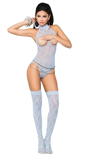 Baby Blue Vivace Cupless Lace Teddy with Stockings