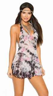 Tie Dye Vivace Lace Halter Mini Dress with G-String