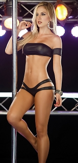 Black Stylish Dancewear Bandeau Top with Side Cut Panty