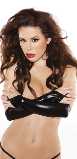 Kitten Wet Look Black Arm Guard Gloves