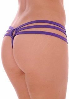 Purple Strappy Triple Band Thong with Ring Back