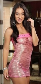 Hot Pink Diamond Foil Mesh Tube Dress with Thong