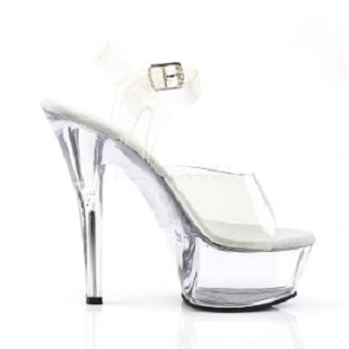 6 Inch Clear Spike Heel Shoe Pleaser Kiss-208