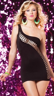 Black Asymmetrical One Shoulder Dress with Diagonal Fishnet