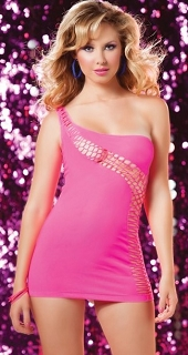 Pink Asymmetrical One Shoulder Dress with Diagonal Fishnet