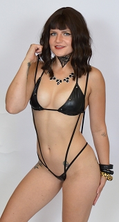 Black Lame Slingshot set with Bikini Bra Top