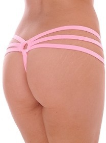 Baby Pink Strappy Triple Band Thong with Ring Back