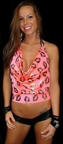 Coral Smootch Lips Slouch Top with Bootie Shorts and Bra Top