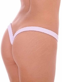 White Butterfly Thick Band Side Scrunch V Back Thong